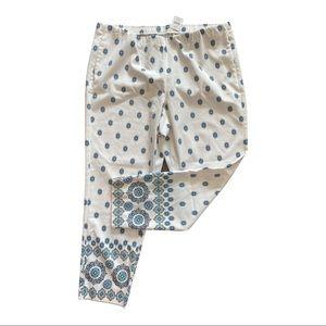 NWT J. JILL White Blue FLORAL Print PANTS 20W